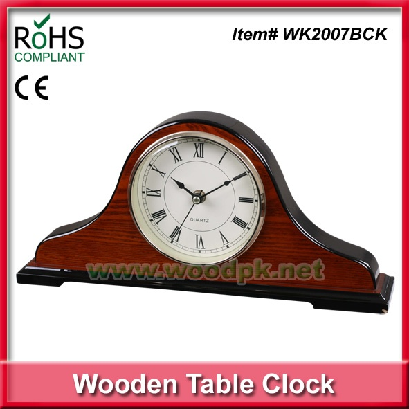 High Glossy Piano Finish Wooden Clock Matel Table Clock Antique